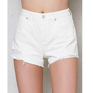 PacSun White Ripped High Rise Cutoff Denim Shorts